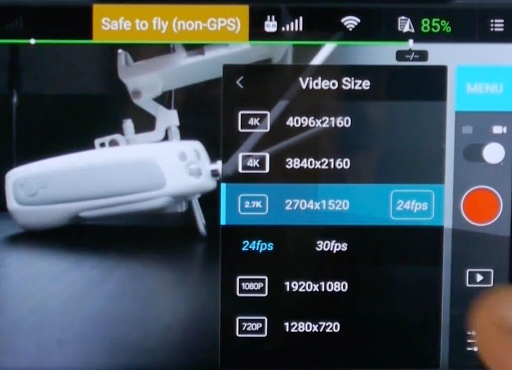 resolutions video disponibles phantom 3 4K